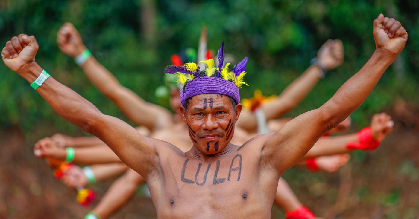 A visita dos índios da tribo Kaingang ao acampamento pela liberdade de Lula. Foto: Ricardo Stuckert