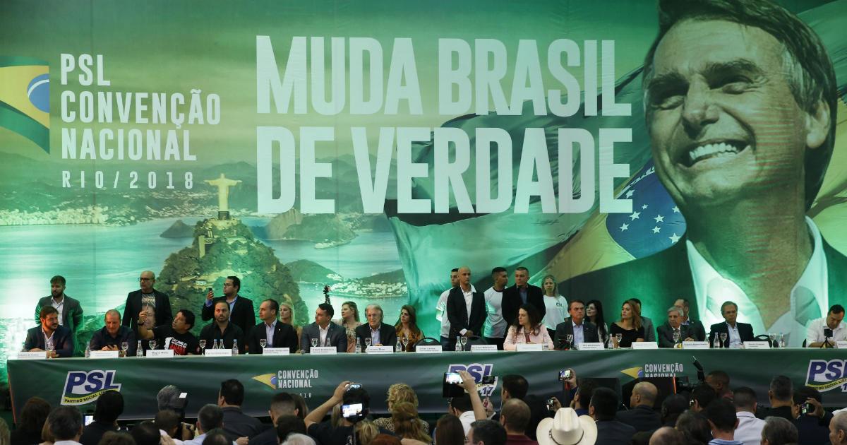 PSL lançando a candidatura de Jair Bolsonaro a presidente. Foto: Fernando Frazão / Agência Brasil
