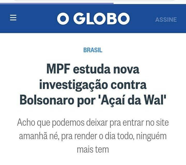 'O Globo': print confirma que jornal queria notícia rendendo 'o dia todo'. Quem sabe vai pro 'Fantástico'? Imagem: Reprodução
