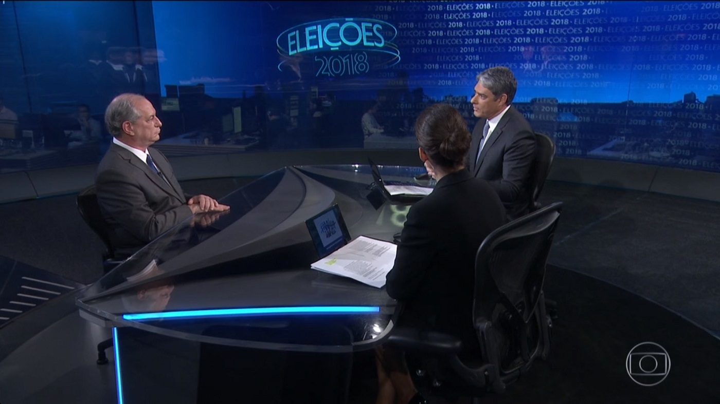 Ciro no 'Jornal Nacional': faltam crédito às declarações do candidato. Imagem: Reprodução/TV Globo