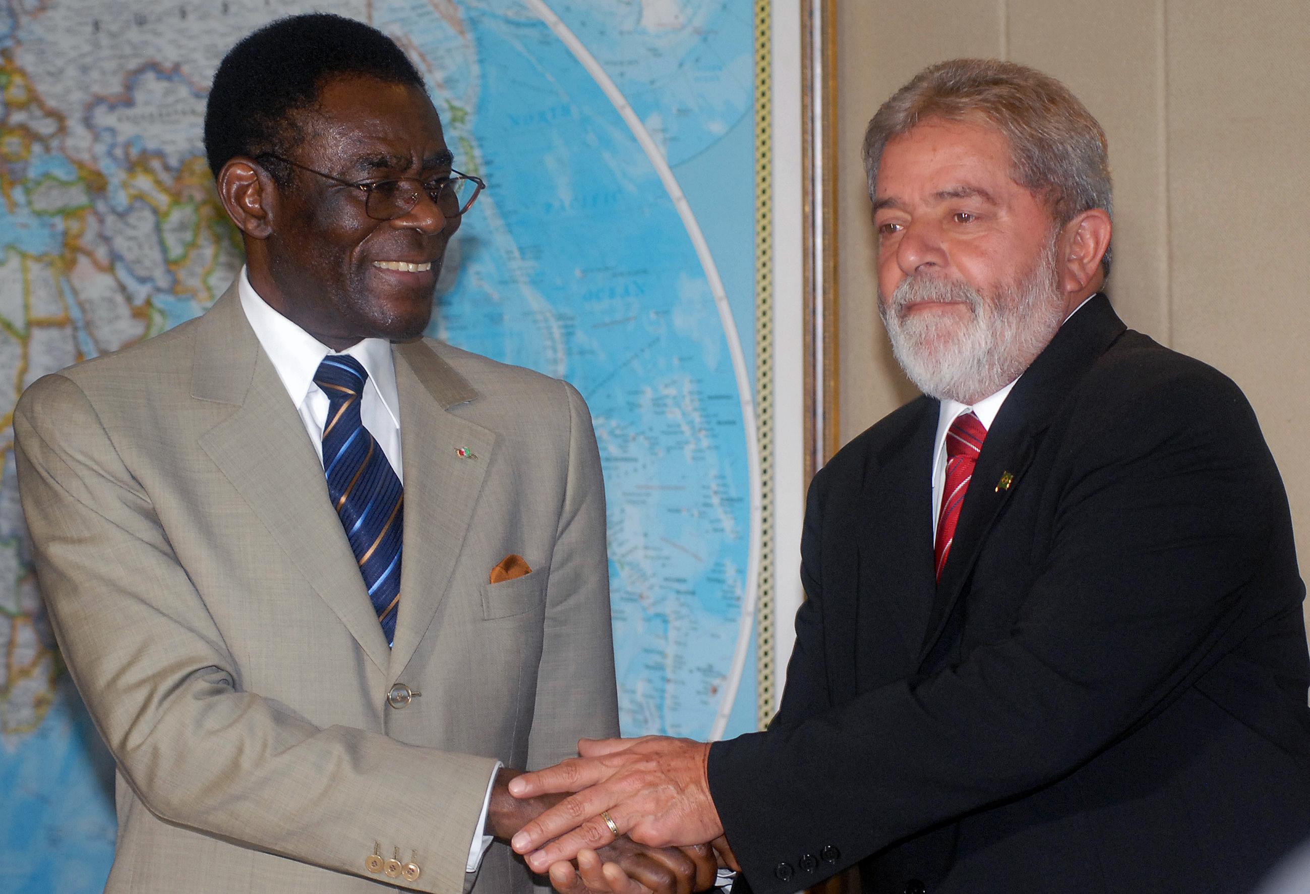 Teodoro Obiang, ditador da Guiné Equatorial, com Lula, em 2008: parceria de longa data. Foto: Rodrigues Pozzebom/Agência Brasil