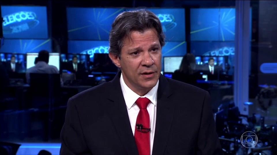 Haddad no 'JN': boa-noite ao presidiário Lula e nenhum arrependimento. Foto: Reprodução/TV Globo