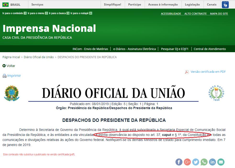 O despacho: publique-se, registre-se e cumpra-se. Imagem: Reprodução/Imprensa Nacional
