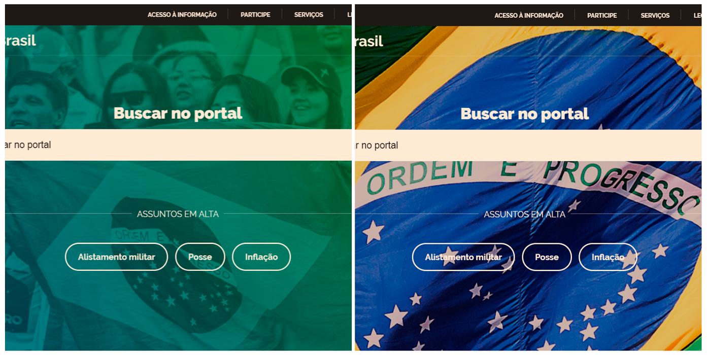Antes e depois: rosto e nome de Bolsonaro sumiram. Imagem: Montagem sobre reproduções/brasil.gov.br