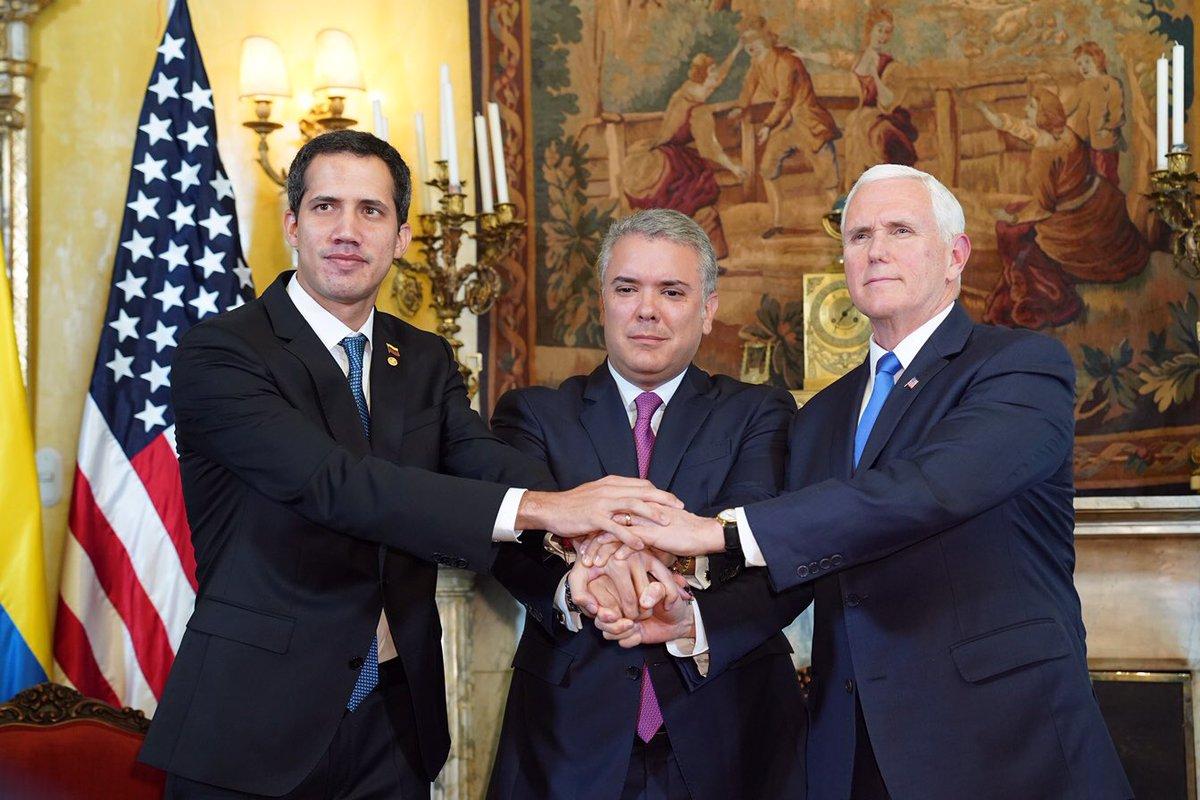 Pence (à direita, com Guaidó e o presidente da Colômbia, Ivan Duque): hora de agir. Foto: Divulgação/Mike Pence