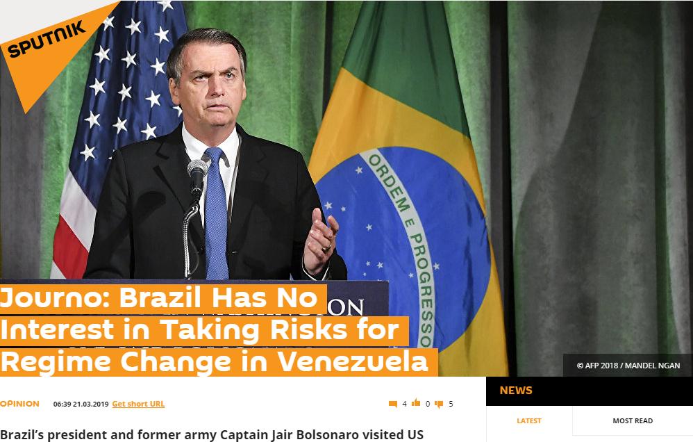 'Jornalista: Brasil não tem intereesse em correr riscos por mudança de regime na Venezuela', diz a manchete do 'Sputnik'. Foto: Reprodução/Sputnik International
