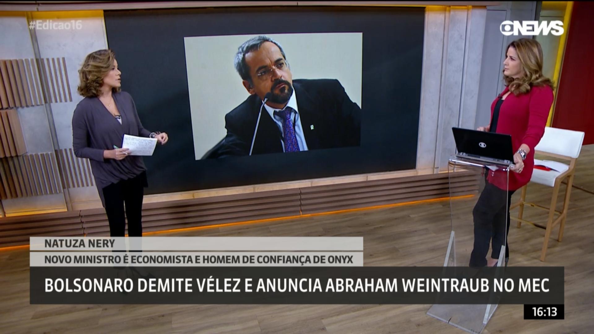 Natuza Nery, da GloboNews: entrevista de Weintraub para 'A Agência' era a única dele sobre educação. Foto: Reprodução/GloboNews